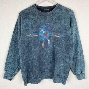Vintage Acid Wash Southwestern Pullover Sweatshirt